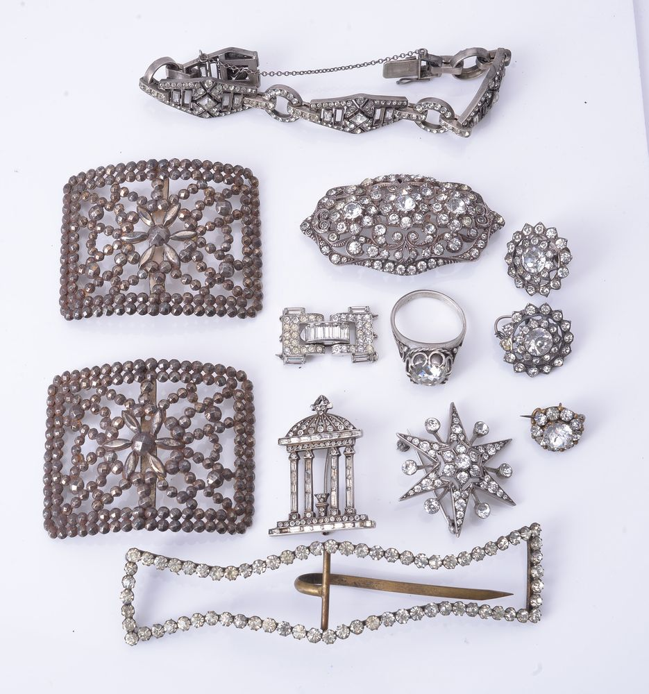 Lot 832 - A collection of antique and period paste set jewellery including a pair of shoe buckles