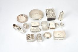 A group of small silver, silver mounted and silver coloured items