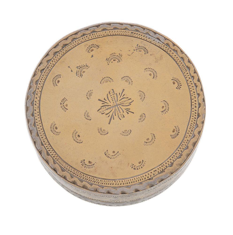 Lot 800 - An Edwardian silver parcel gilt and enamel circular box by King & Sons