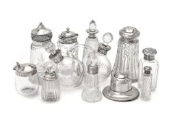 A collection of silver mounted clear and cut glass items