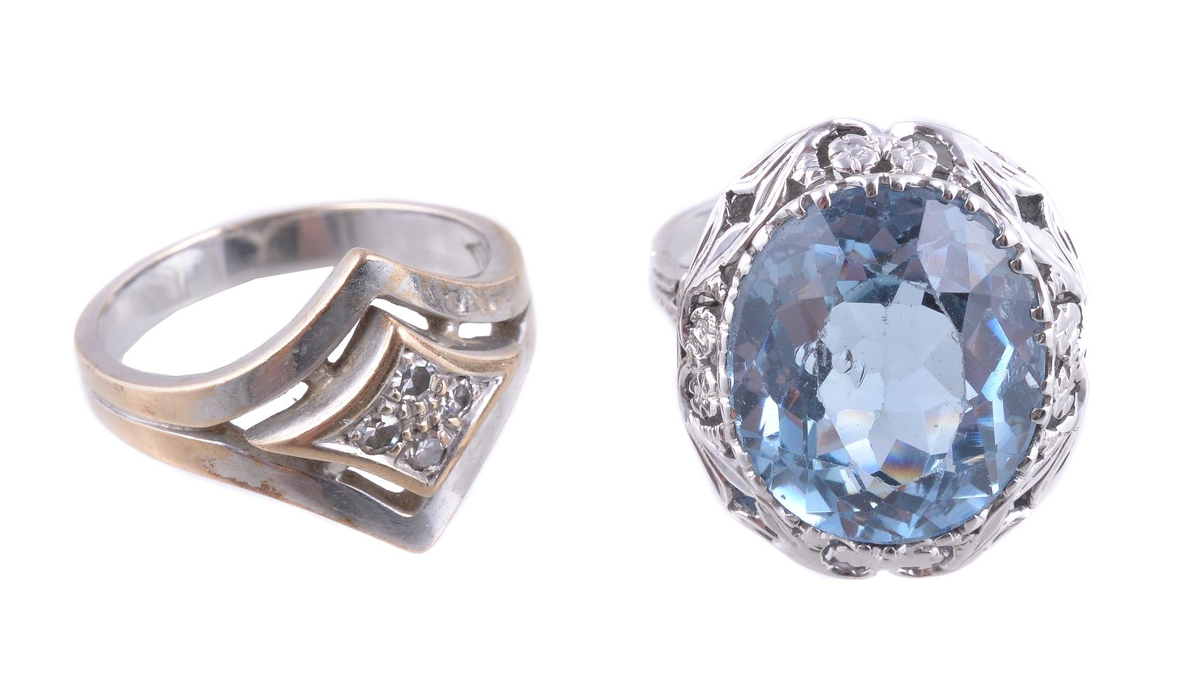 Lot 818 - A mid 20th century blue synthetic spinel dress ring