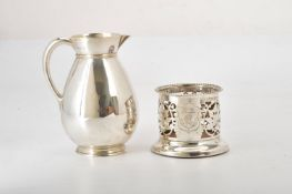 A Victorian silver ovoid water jug by Martin