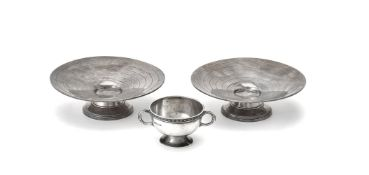 A pair of Art Deco silver footed sweet dishes by Harrods Ltd