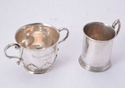 A Victorian silver christening mug and a twin handled porringer