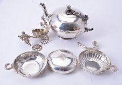 ϒ A Victorian silver compressed spherical small tea pot by George John Richards
