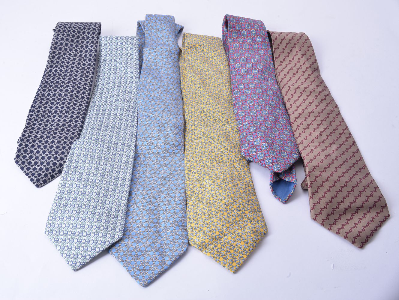 Lot 1104 - Hermes, a collection of six silk ties