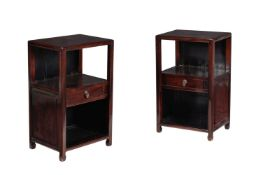 A pair of Chinese hardwood bedside tables