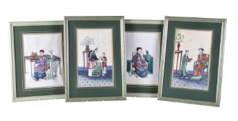 A group of four Chinese rice paper paintings