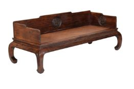 A Chinese hardwood 'Luohan' couch-bed