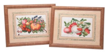 A set of twelve good Chinese gouache 'fruit and flower' paintings