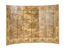 A Chinese eight-fold painted screen