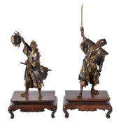 Gyokko: A Pair of Japanese Parcel Gilt Bronze Figures