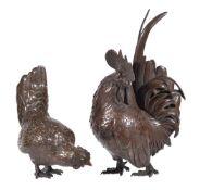 A Japanese Bronze Cockerel and his Hen