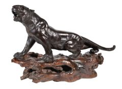 A large Japanese bronze of a snarling tiger