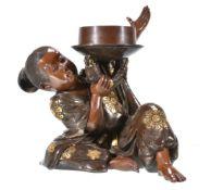 Miya-O Eisuke: A Parcel Gilt Bronze Figure of a Boy (probably intended as Kintaro)