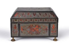 ϒ A Louis XIV pewter, brass and tortoiseshell contre-partie Boulle marquetry and ebony banded casket