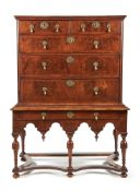 A William & Mary walnut and feather banded chest on stand, circa 1690