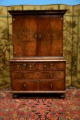 A William & Mary walnut cabinet on chest, circa 1690
