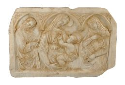 An Italian, probably Tuscan, sculpted marble relief in late 13th/early 14th century style, 19th cent