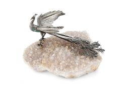 A silver, malachite and rock crystal specimen table ornament