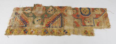 Five antique Turkish Konya rug fragments