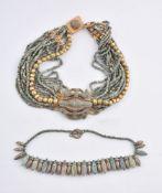 An Egyptian Revival blue faience bead collar necklace
