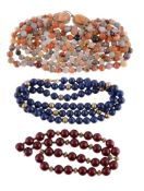 A three row agate bead necklace