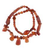 A cornelian bead necklace