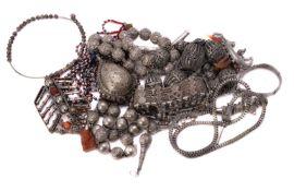 ϒ A North African lapis lazuli and glass bead necklace