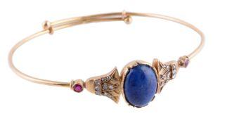 An Egyptian lapis lazuli, diamond and ruby bangle