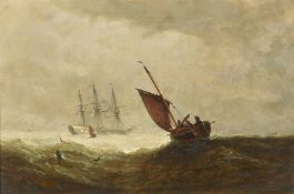 William Adolphus Knell (British 1802-1875), Seascape with Man O'War and fishing boats