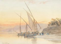 John Varley the Younger (British 1850-1933), Feluccas docked on the Nile