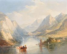 Thomas Creswick (British 1811-1869), A Swiss lake scene with figures in a boat