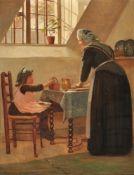 Edith Hayllar (British 1860-1948), Making blackberry pie