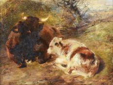 William Huggins (British 1824-1910), Recumbent cow and calf