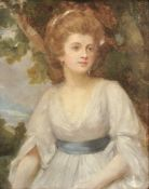 Manner of George Romney (Early 19th century), Portrait of a young woman in a white dress with a blue