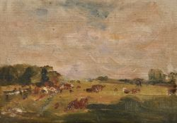 Nathaniel Hone the Younger (Irish 1831-1917), Cows grazing in a landscape