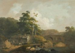John Rathbone (British 1750-1807), Horse and cart with figures outside a cottage in a river landscap