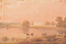 Follower of Anthony Vandyke Copley Fielding, Cattle watering in front of a country house