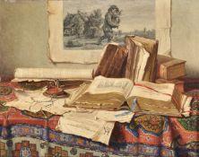 Josef Jurutka (Russian 1880-1945), Still life with books