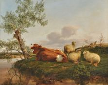 Follower of Thomas Sidney Cooper, Cattle and sheep resting beside a river
