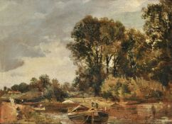 Frederick Waters Watts (British 1800-1862), Barges on a river