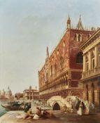 Edward Pritchett (British 1828-1864), A view across the Ponte della Paglia towards the Doge's Palace