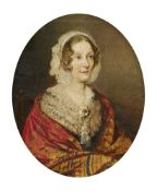 English School (late 19th century), Portrait of Eliza, Lady Farnaby, daughter of Thomas Morland, wif