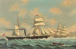 λ Salvatore Colacicco (Italian b. 1935), The Sail and Steam Ship Alcester with other Vessels