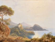 Circle of John H. Glover (British 1767-1849), Coastal landscape with a castle and figures