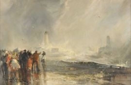Frank Wasley (British 1854-1934), Crowds gather with stormy seas and lighthouse beyond