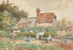 Follower of William Stephen Coleman, Mother and child outside a country cottage