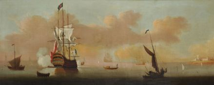 Attributed to Peter Monamy (British 1681-1749), A man-o'-war saluting, with other vessels off the co