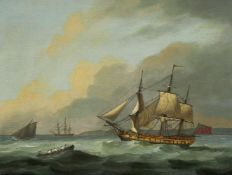 Follower of Thomas Luny, Seascape with a merchant man in a frigate and a jolly boat